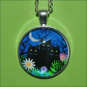Jewelry - Three Black Cats Dome Necklace